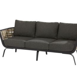 Antibes 3 seater bench 2 arms with cushions